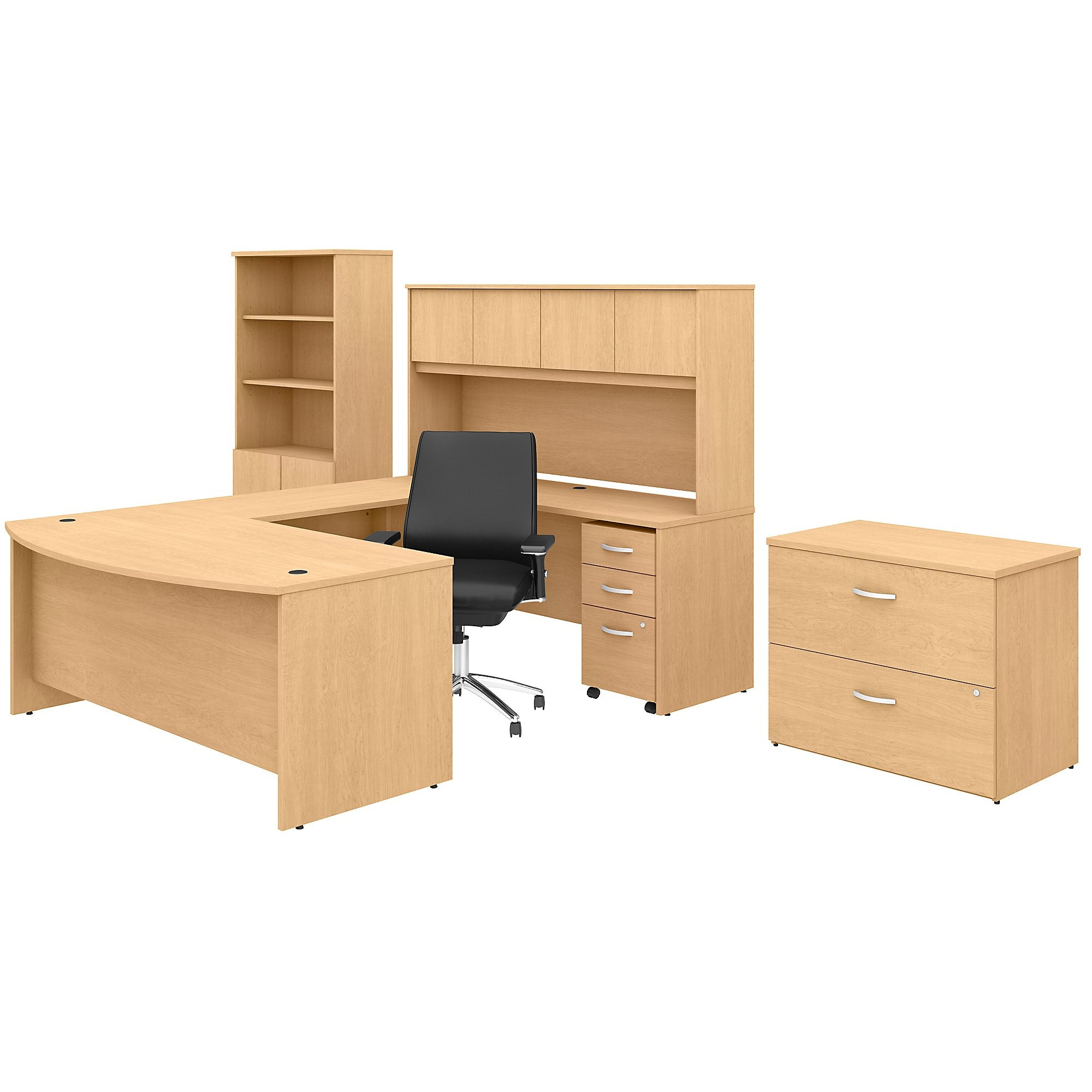U Shaped Desk with Hutch Bookcase File Cabinets & Mid Back Chair