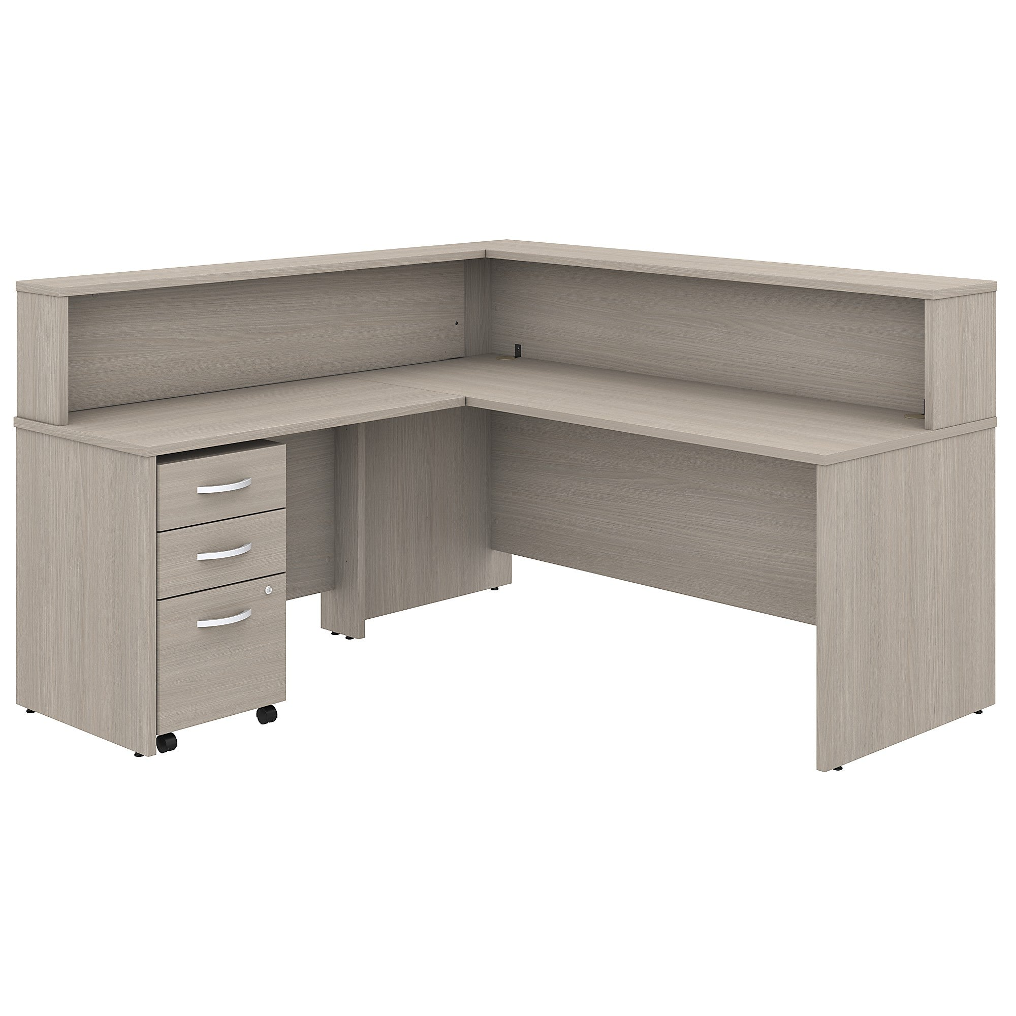Studio C 72W L Shaped Reception Desk with Shelf & Mobile File Cabinet