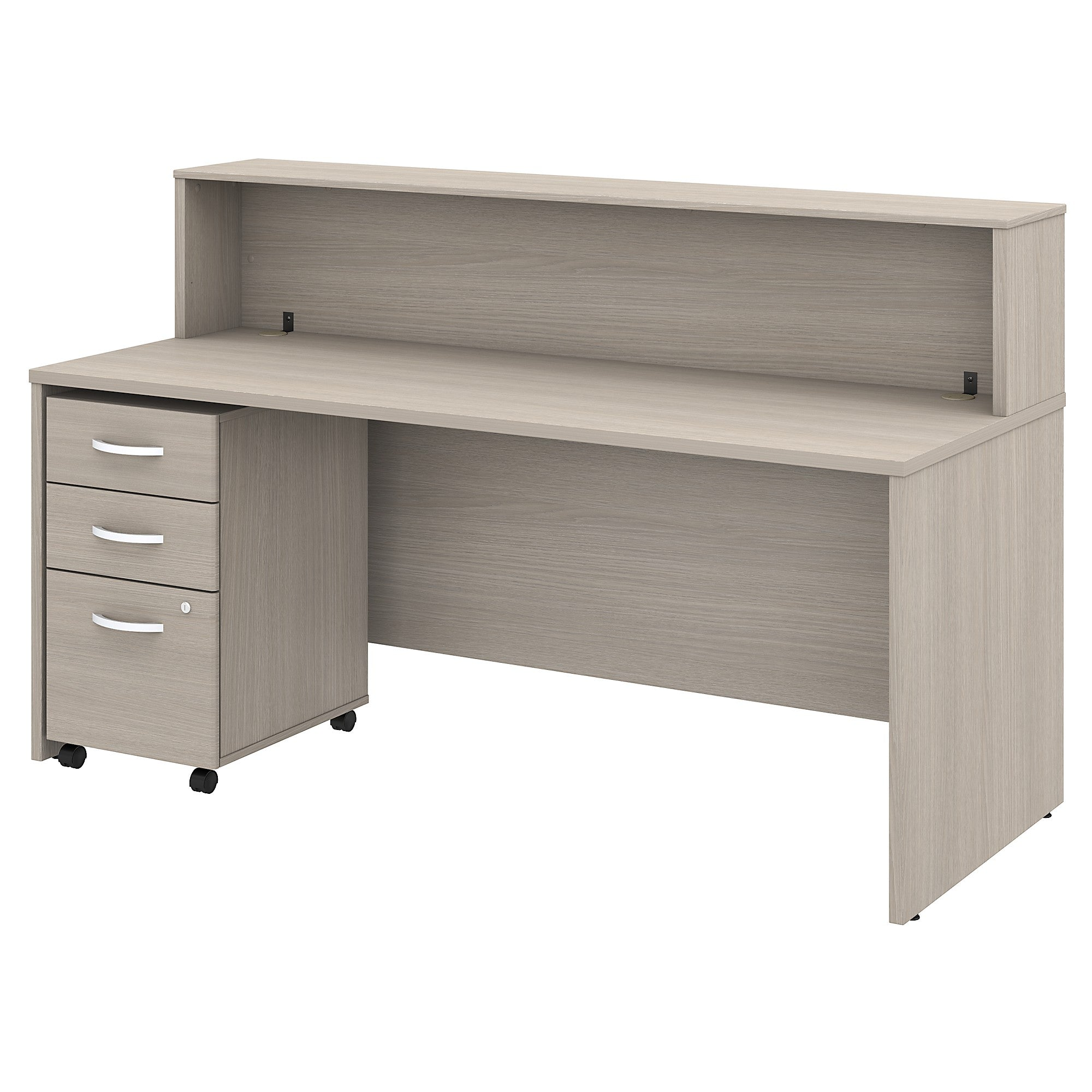 Studio C 72W Reception Desk with Shelf & Mobile File Cabinet