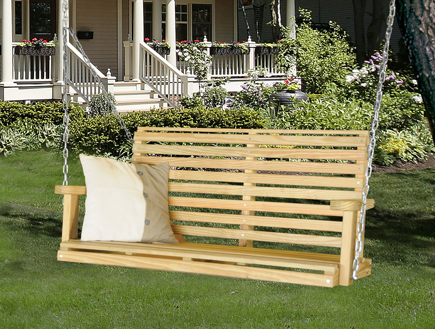 HershyWay Natural kiln-dried pine 4 Ft Classic Porch Swing
