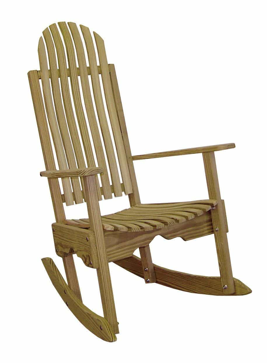 HershyWay Treated Yellow Pine Wood Construction Rocking Contoured Back & Seat Chair