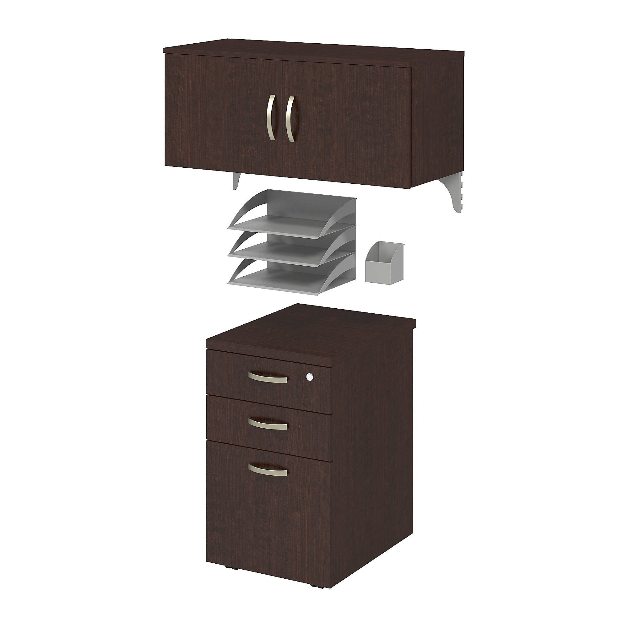 Bush Business Furniture Mocha Cherry Office in an Hour Storage and Accessory Kit