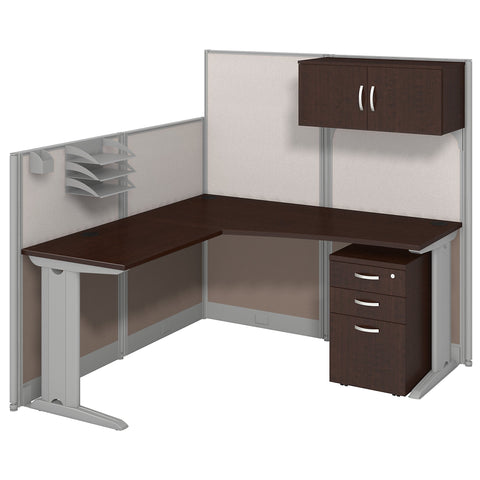 Office in an Hour 65W x 65D L Shaped Cubicle Workstation with Storage