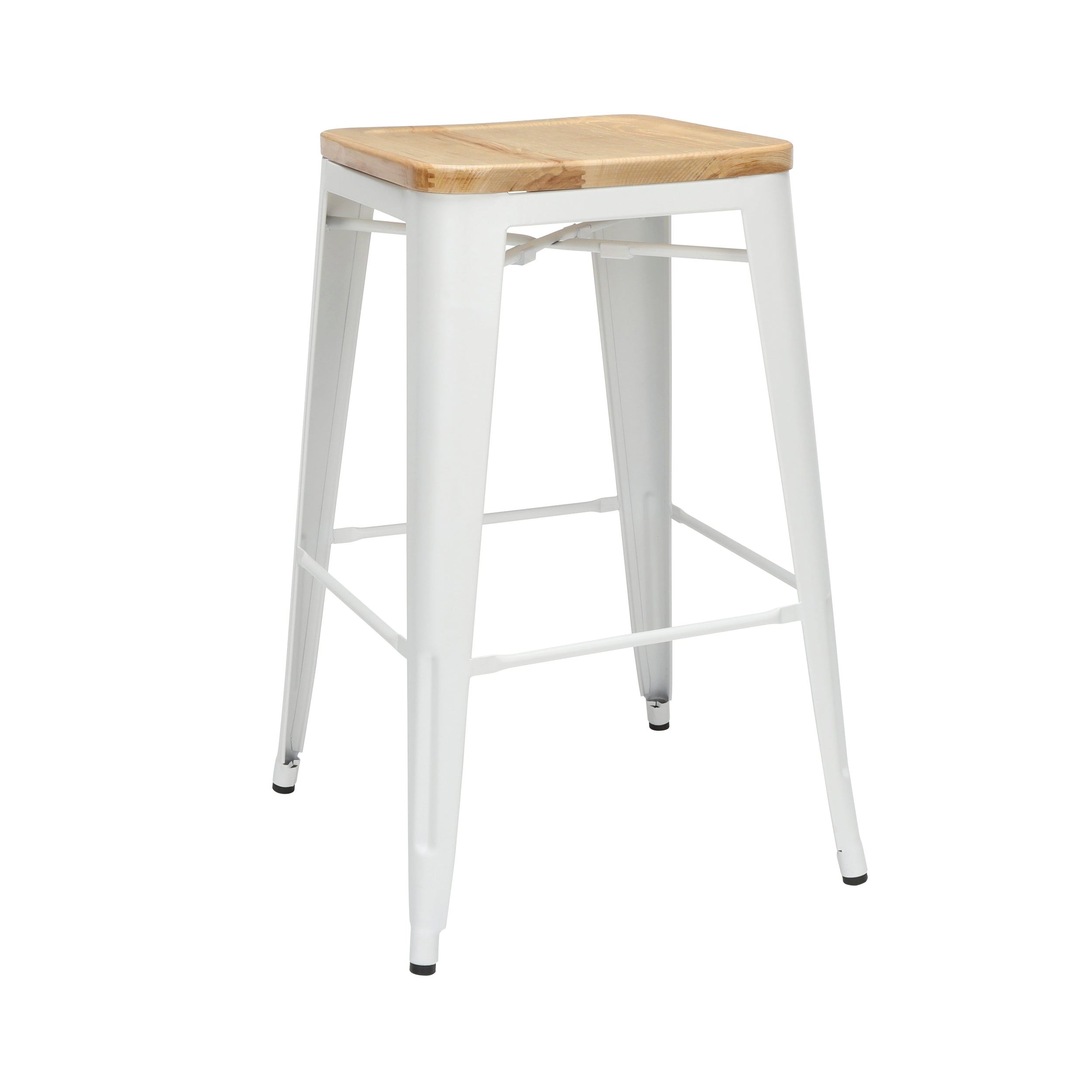 "30"" Backless Bar Height Metal Stools Solid Ash Wood Oversized Seat"