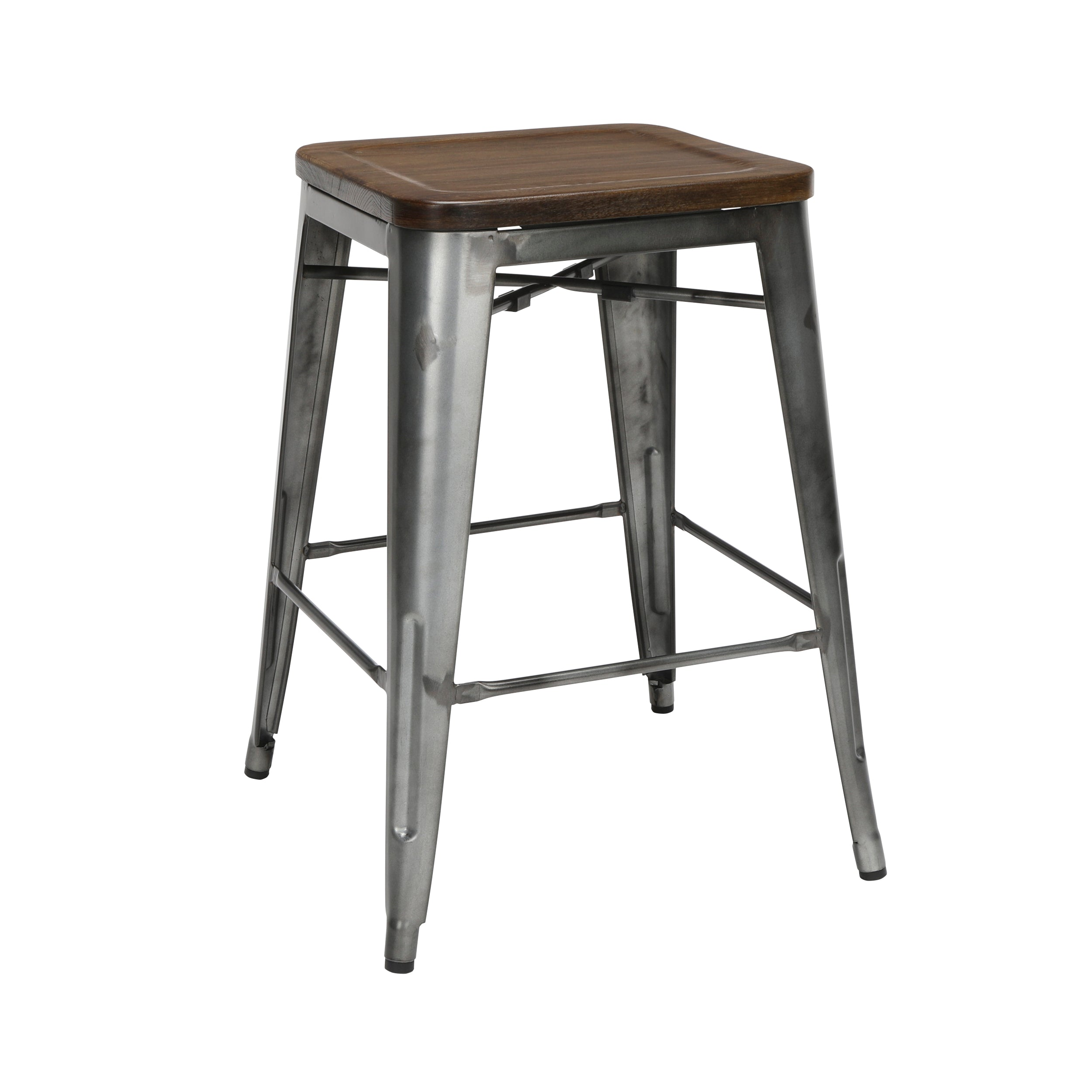 "26"" Backless Metal Solid Ash Wood Oversized Seat Steel BarStool"