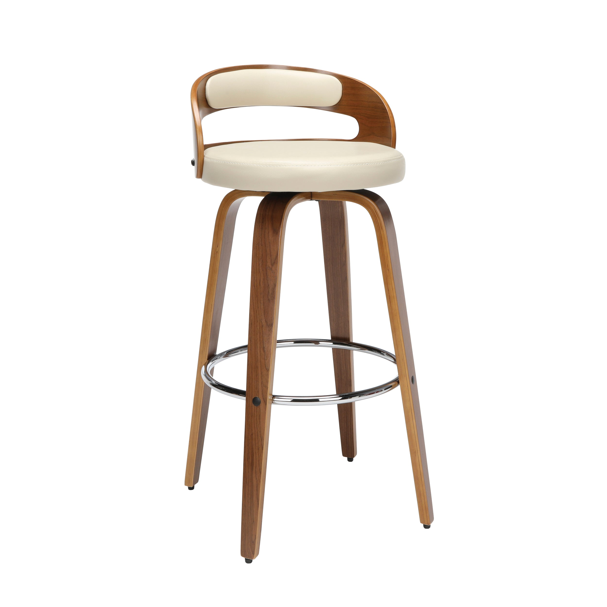 "30"" Low Back Bentwood Frame Swivel Seat Stool with Vinyl Cushion"