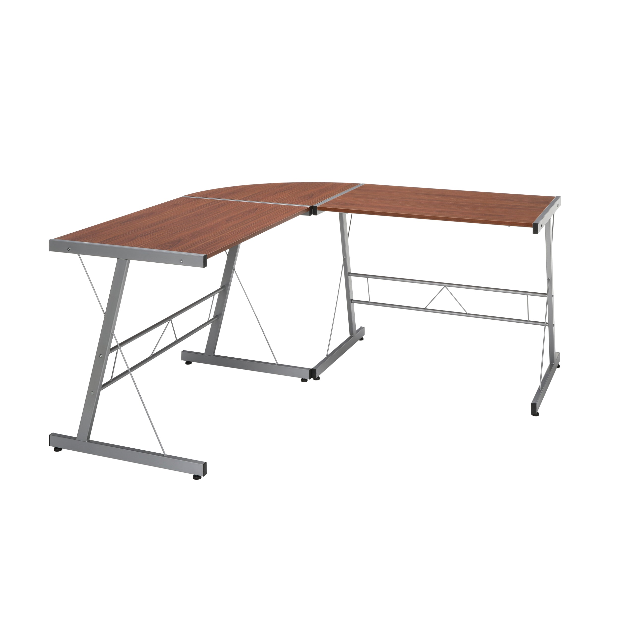 "Essentials Collection 60"" Metal Frame L-Shaped Desk Corner Desk"