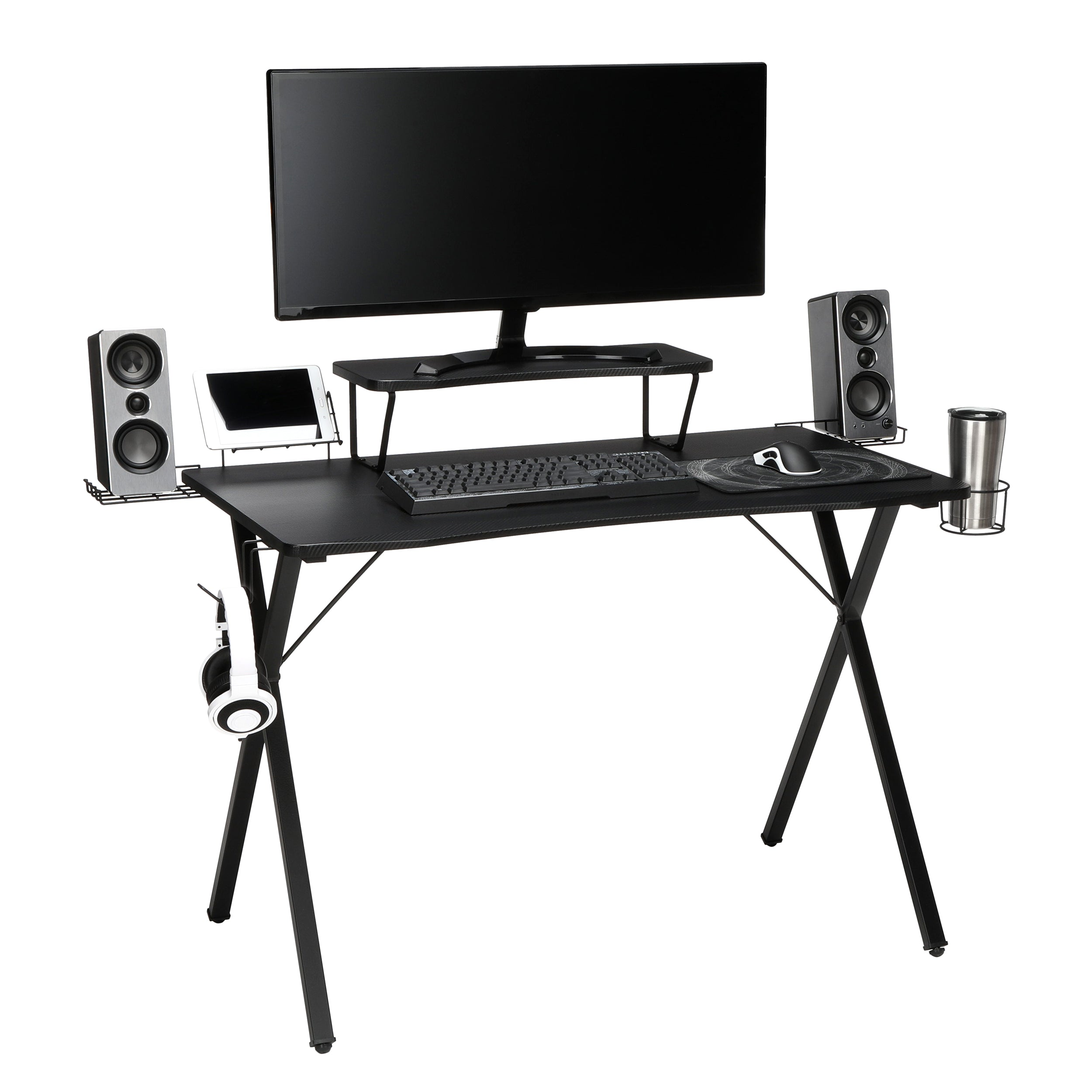 "Essential Collection 55"" Gaming Computer Desk 35"" Monitor Shelf X-Base"