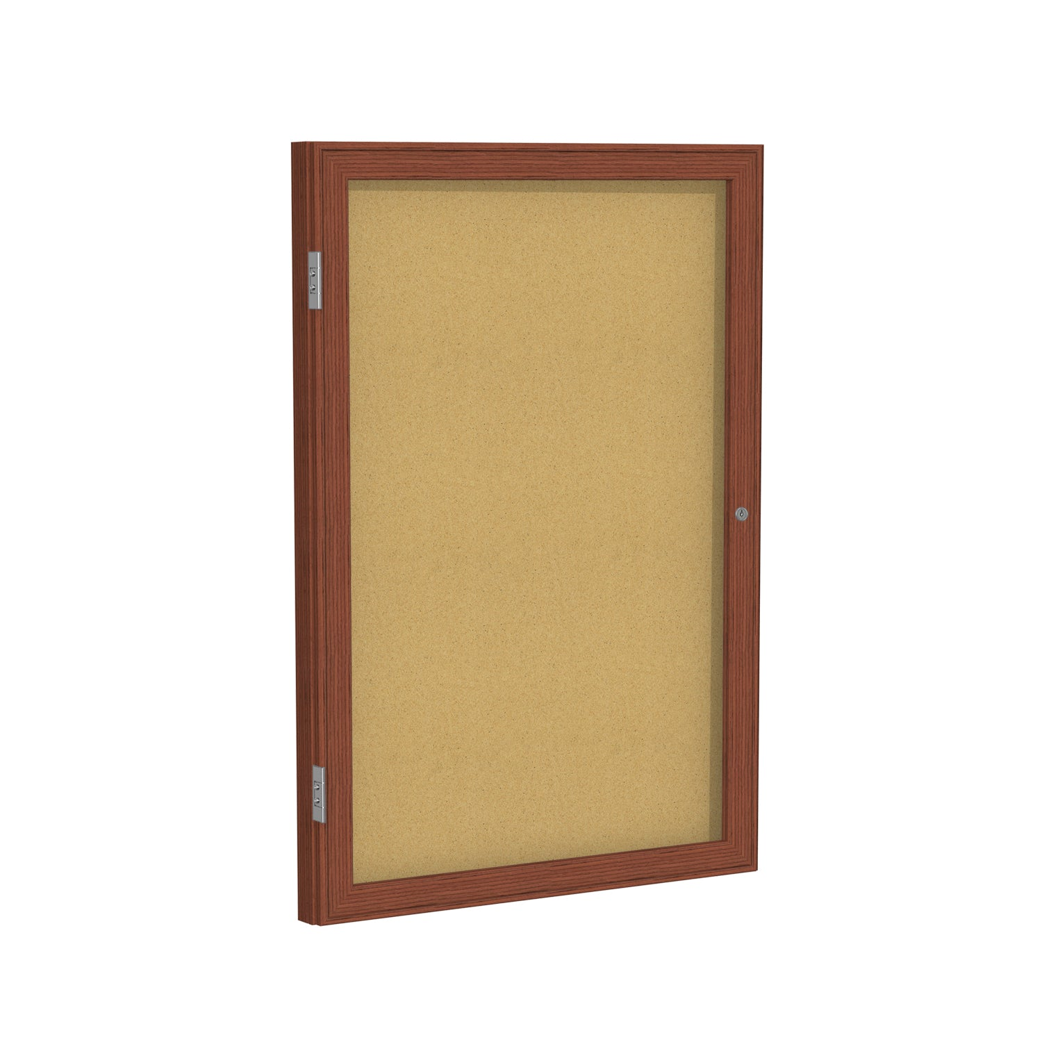 Ghent Wood Frame Cherry Finish Enclosed Bulletin Board-Natural Cork