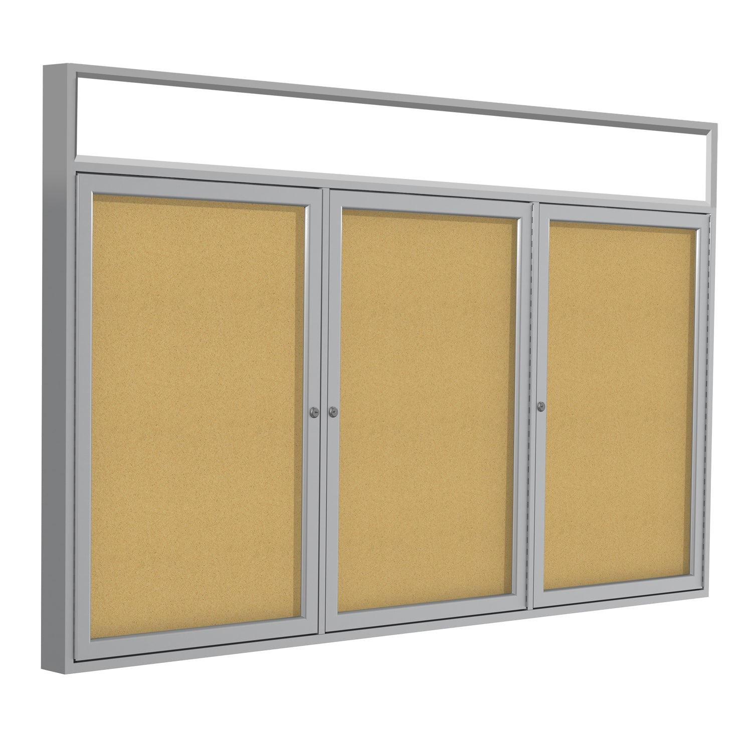 Satin Aluminum Frame, Headliner Enclosed Bulletin Board-Natural Cork