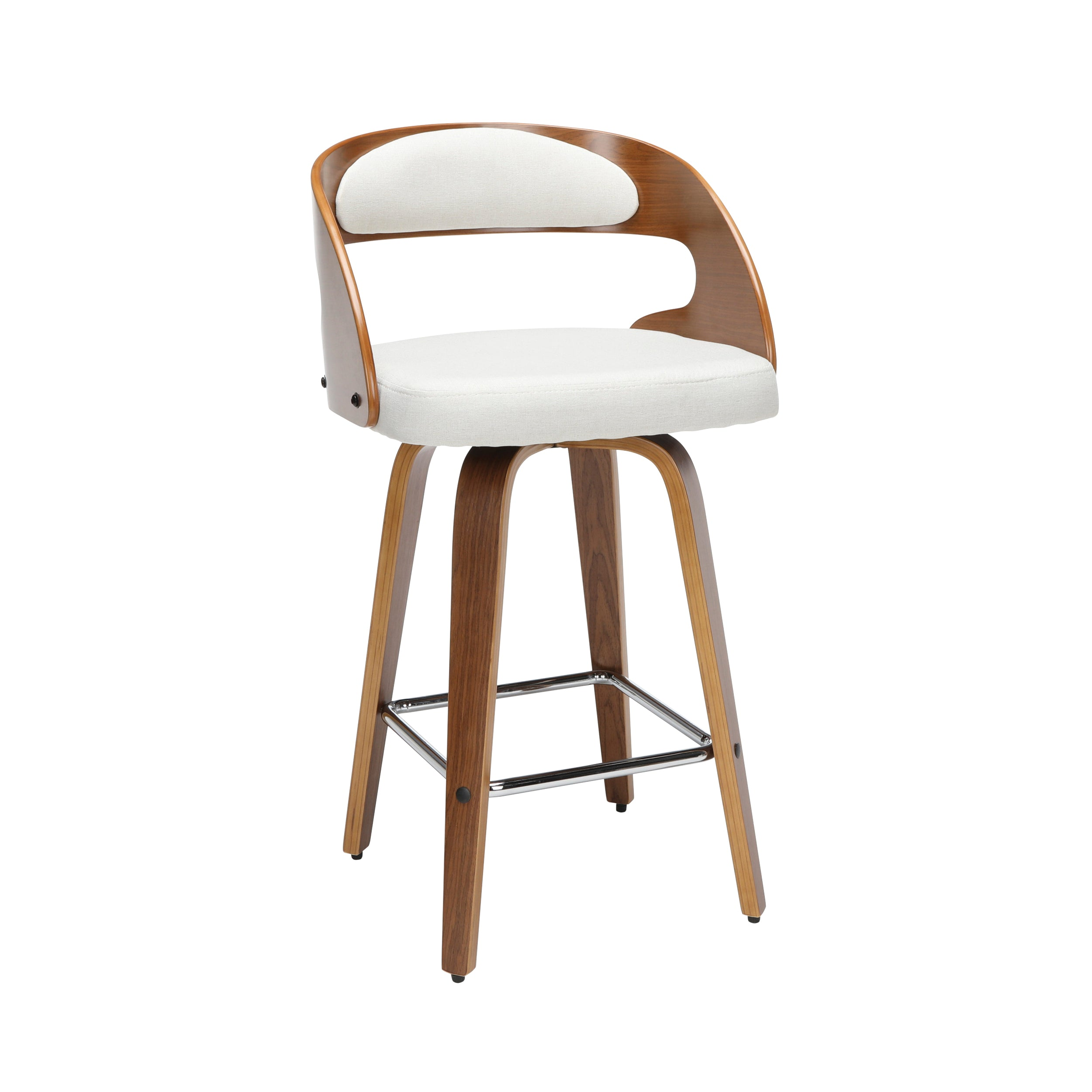 "26"" Bentwood Frame Swivel Seat Stool with Fabric Back & Seat Cushion"