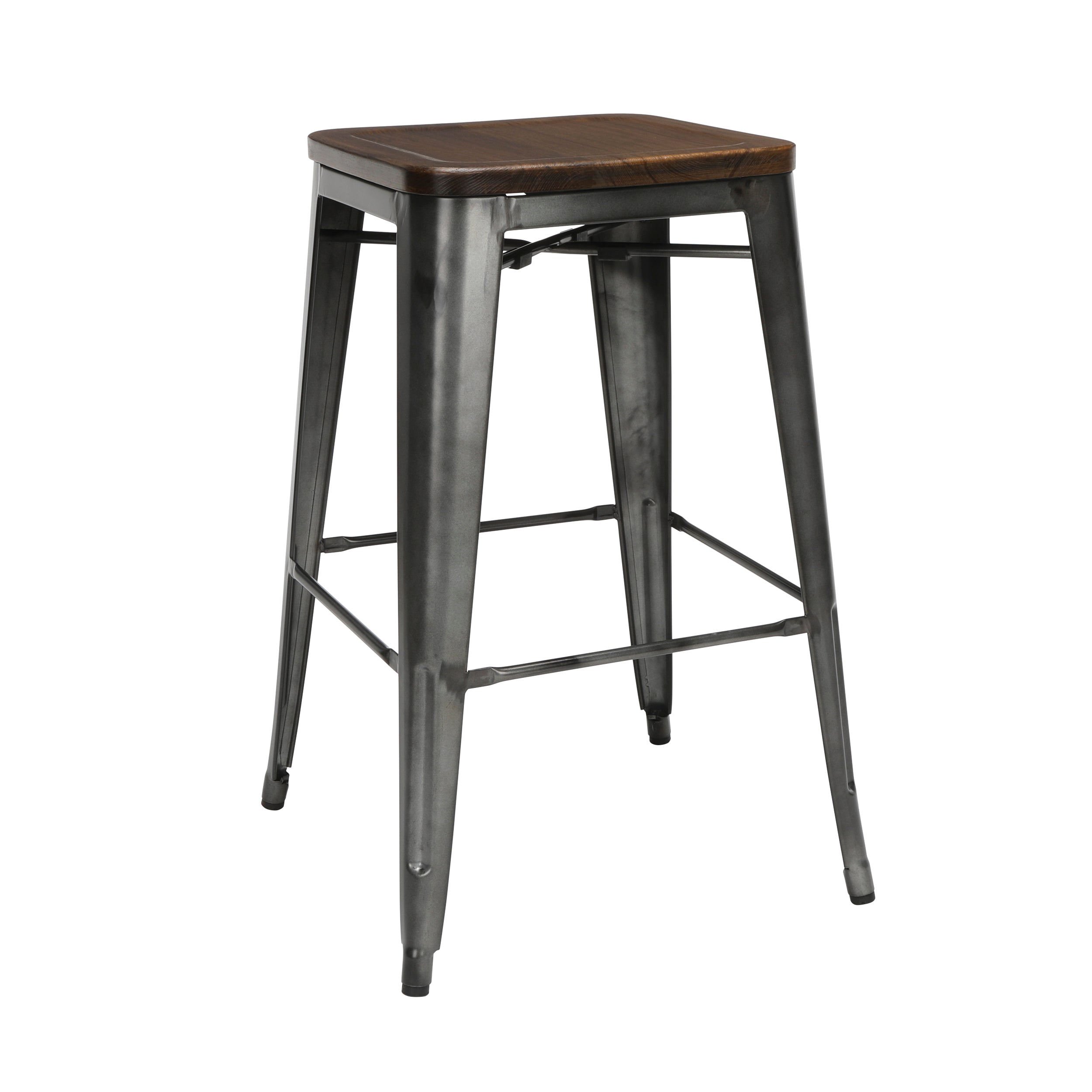 "4 Pack 30"" Backless Bar Height Metal Stools"