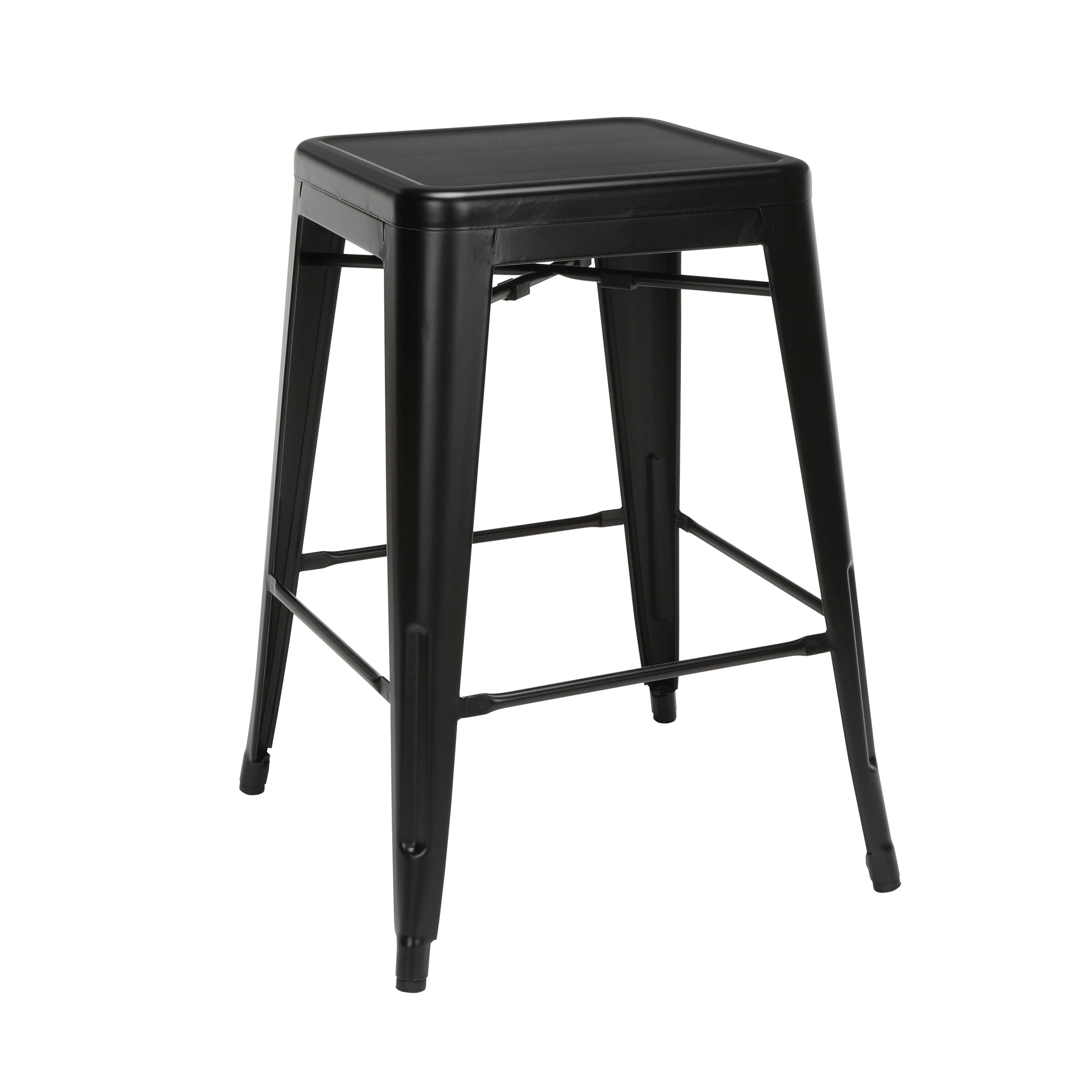 "26"" Backless Metal Stools Steel Bar Stool with Oversized Seat-Black"