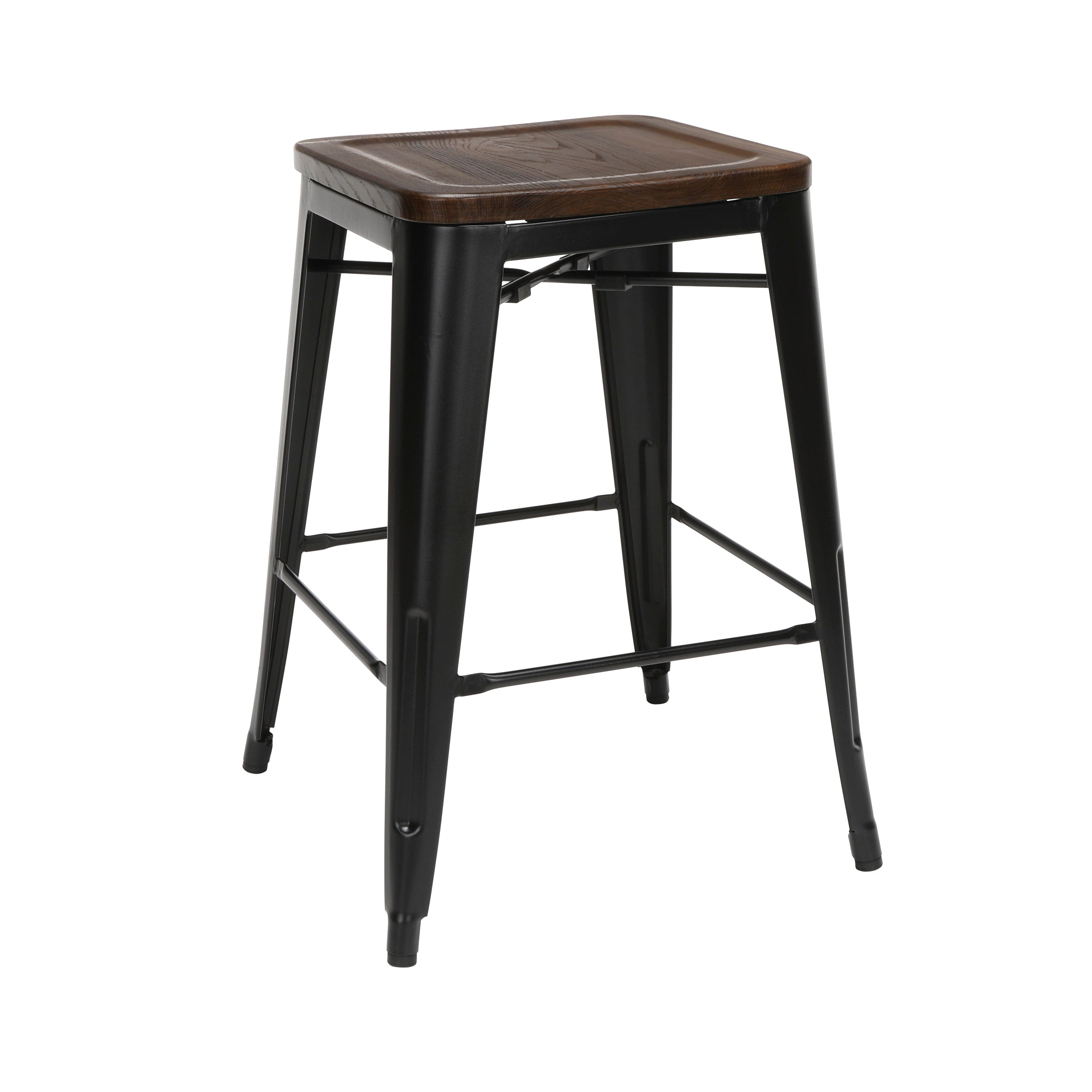 "26"" Backless Metal Stools with Wood Seats Galvanized Steel Bar Stool"