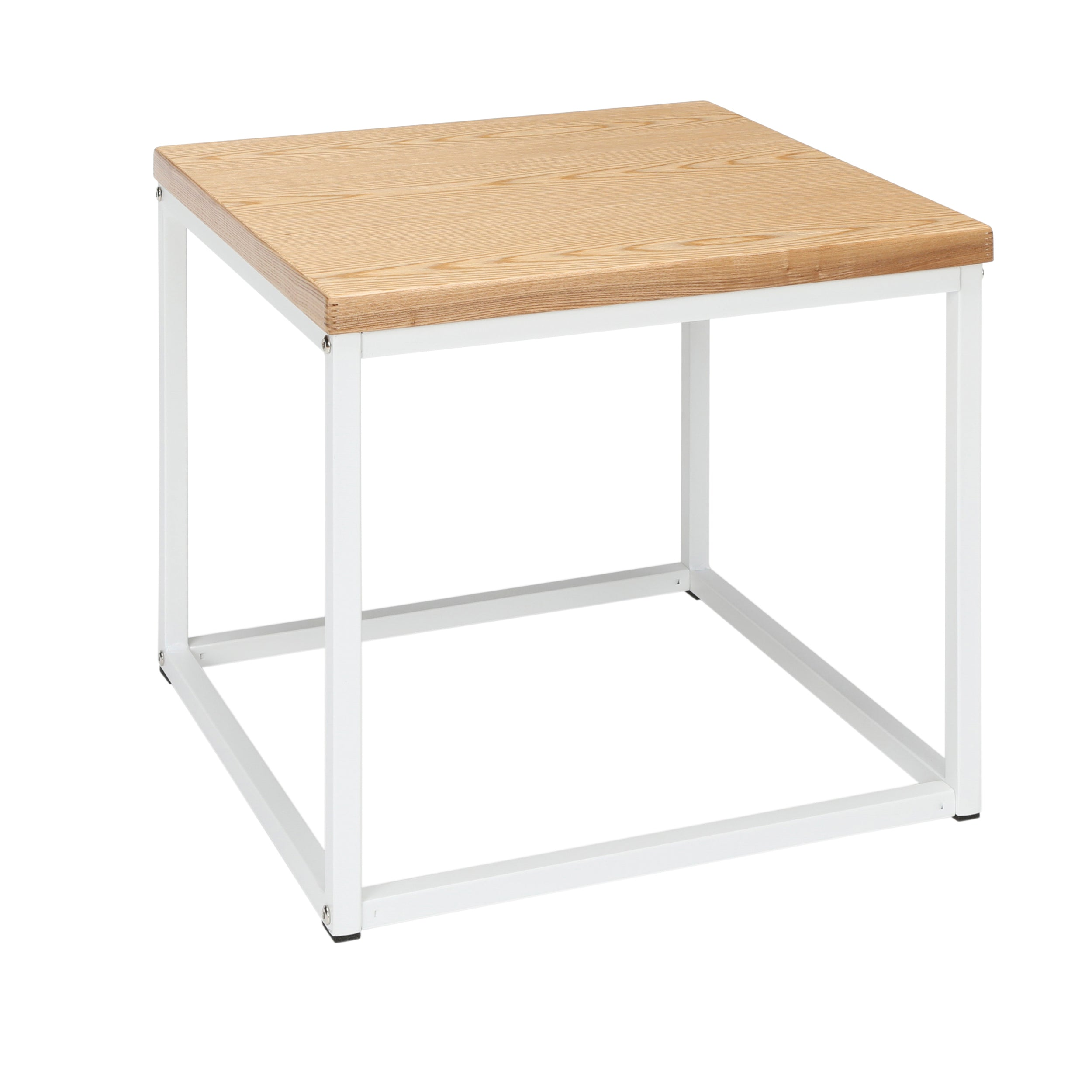 Industrial Modern Wood Top/Metal Frame Side Table-White/Natural