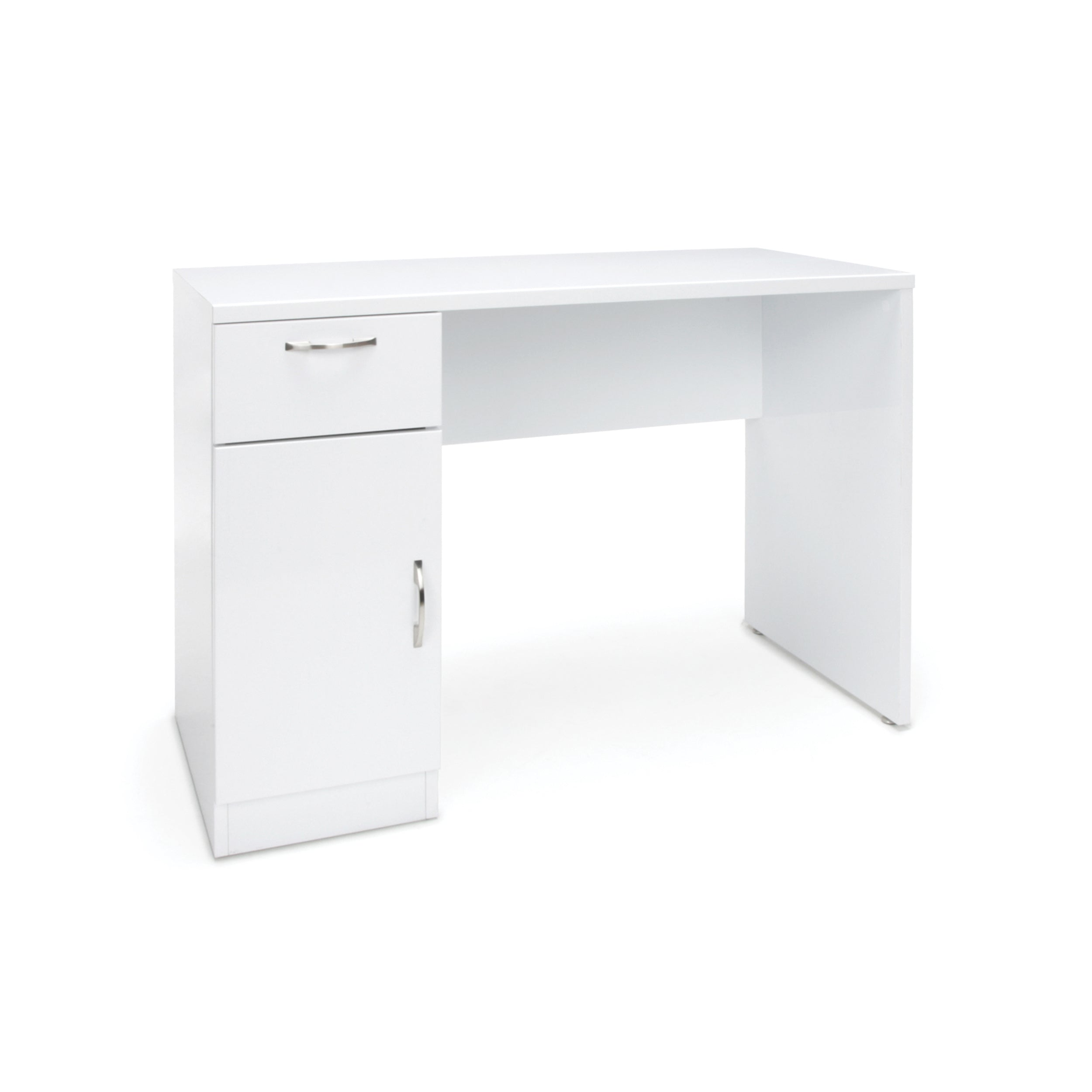 Single Pedestal Solid Panel Desk with Drawer & Cabinet