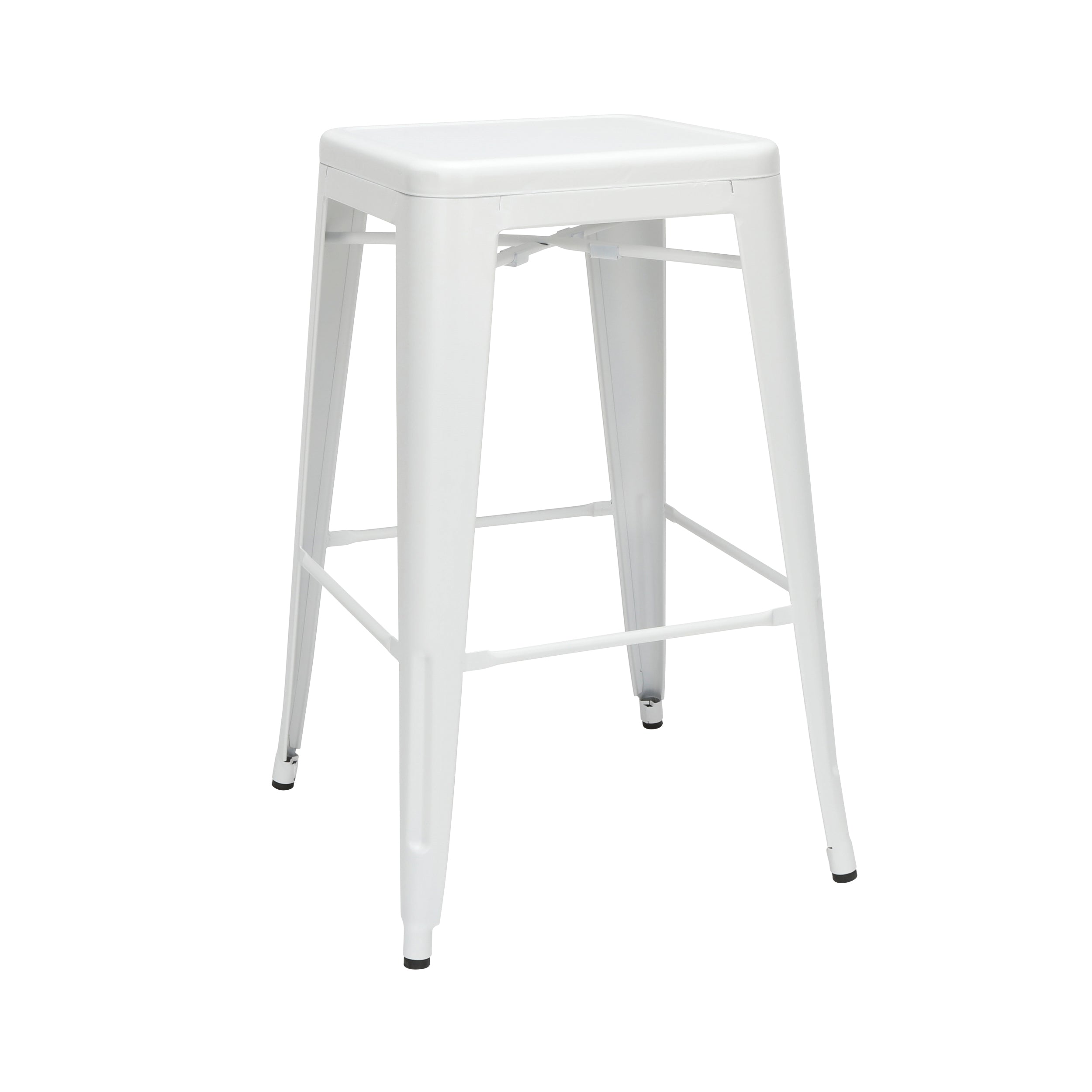 "30"" Backless Bar Height Metal Stool Galvanized Steel Bar Stool-White"