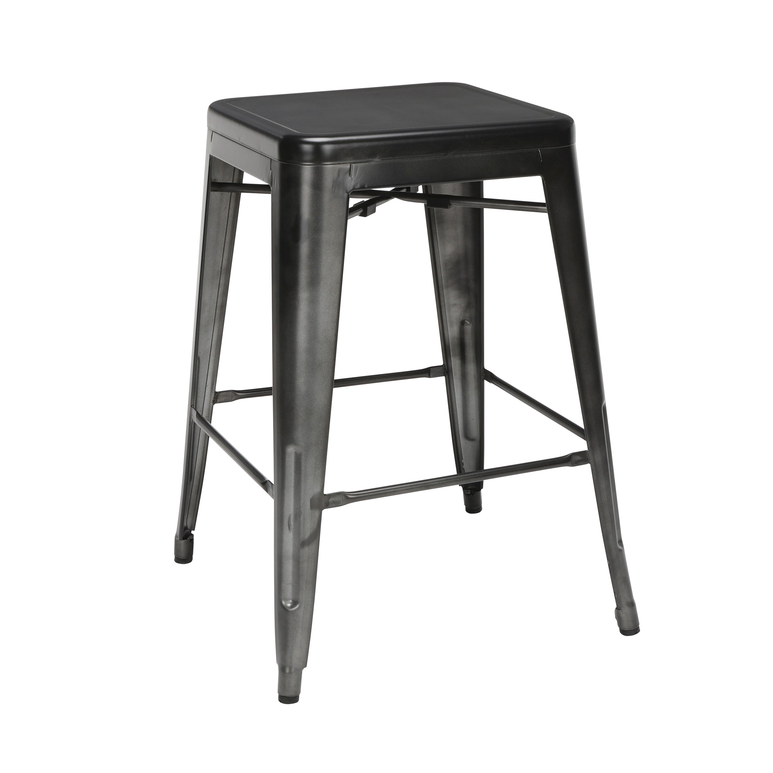 "26"" Backless Metal Stool Steel Bar Stool with Oversized Seats-Gunmetal"