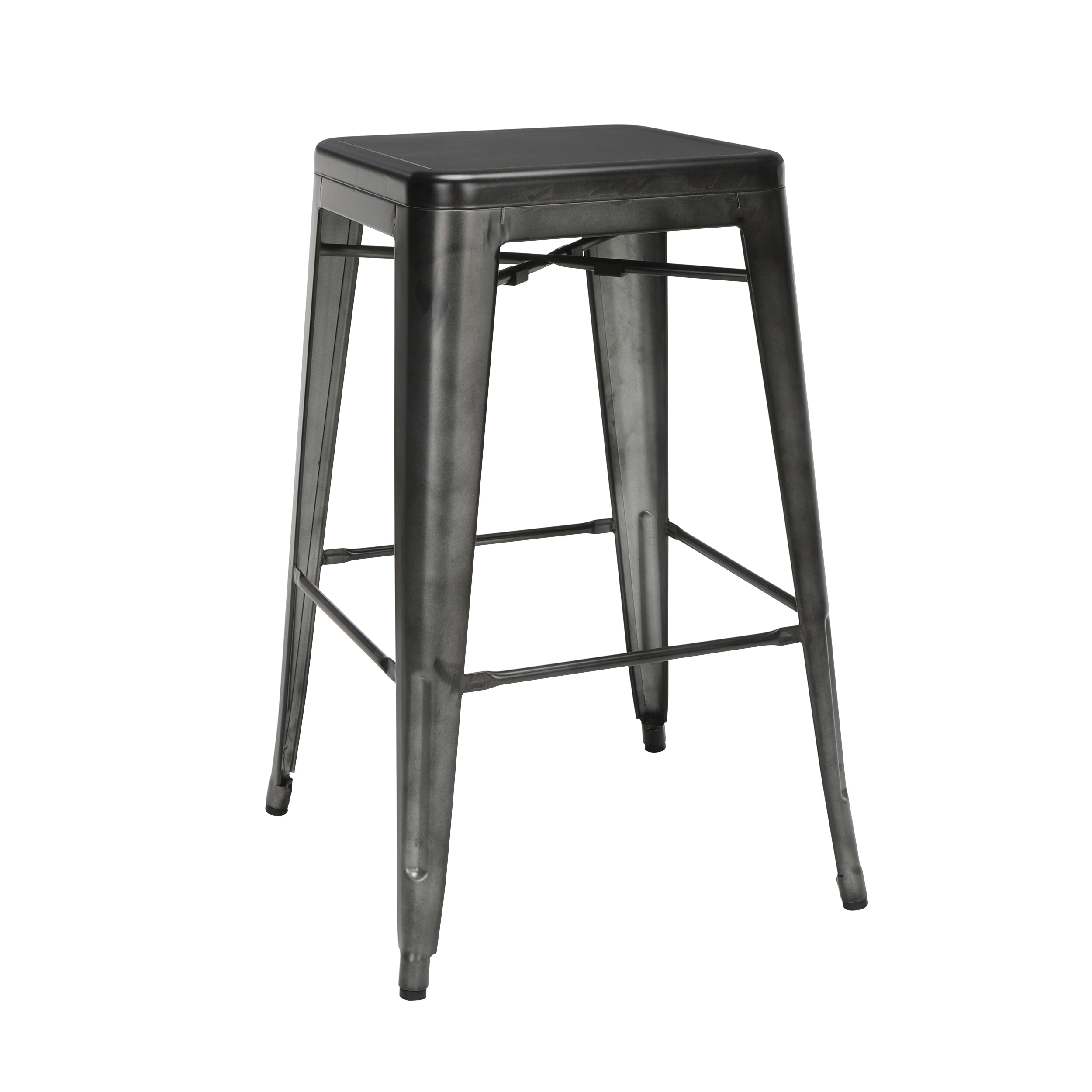 "30"" Backless Bar Height Metal Stool Steel with Oversized Seat-Gunmetal"