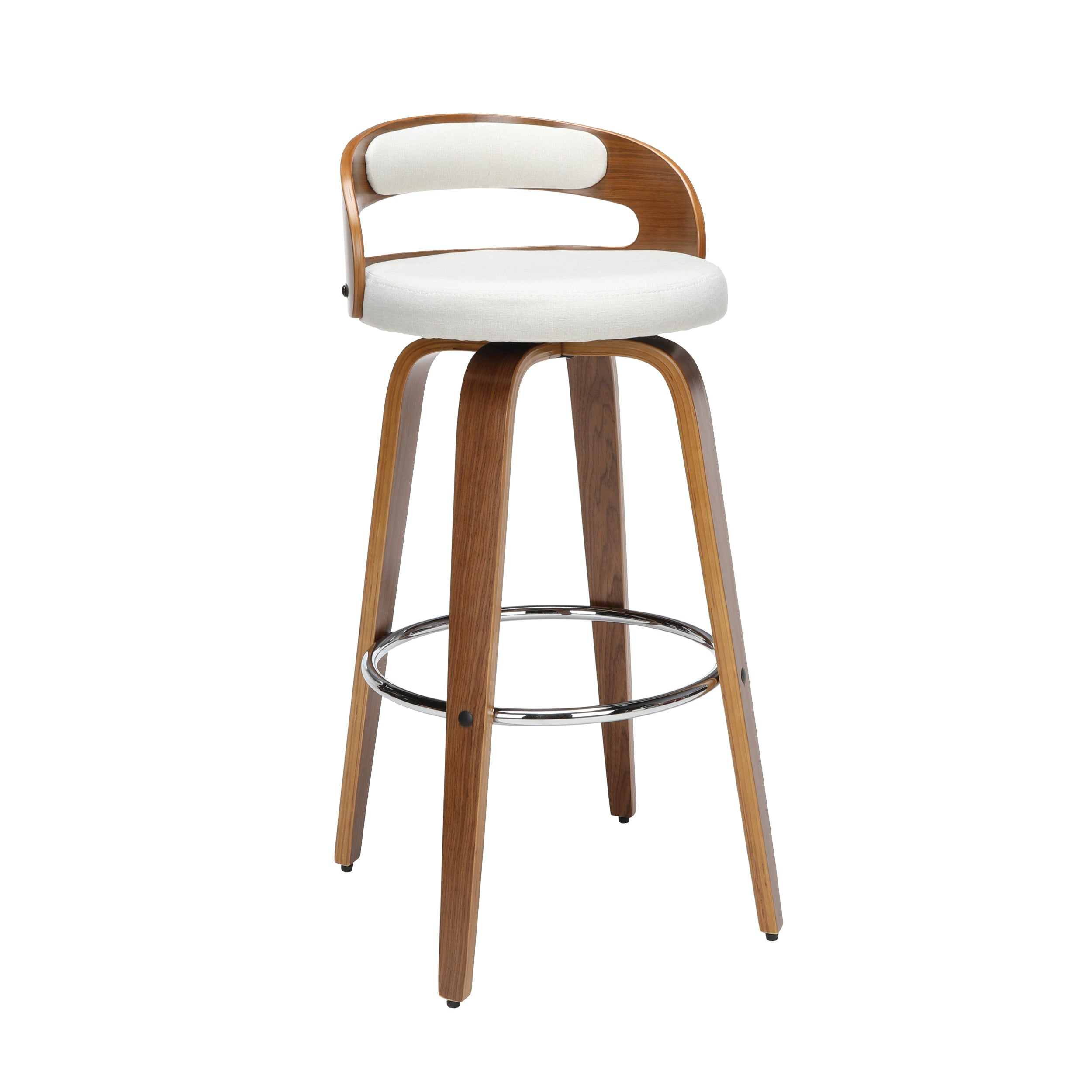 "30"" Low Back Bentwood Frame Swivel Seat Stool with Fabric Cushion"