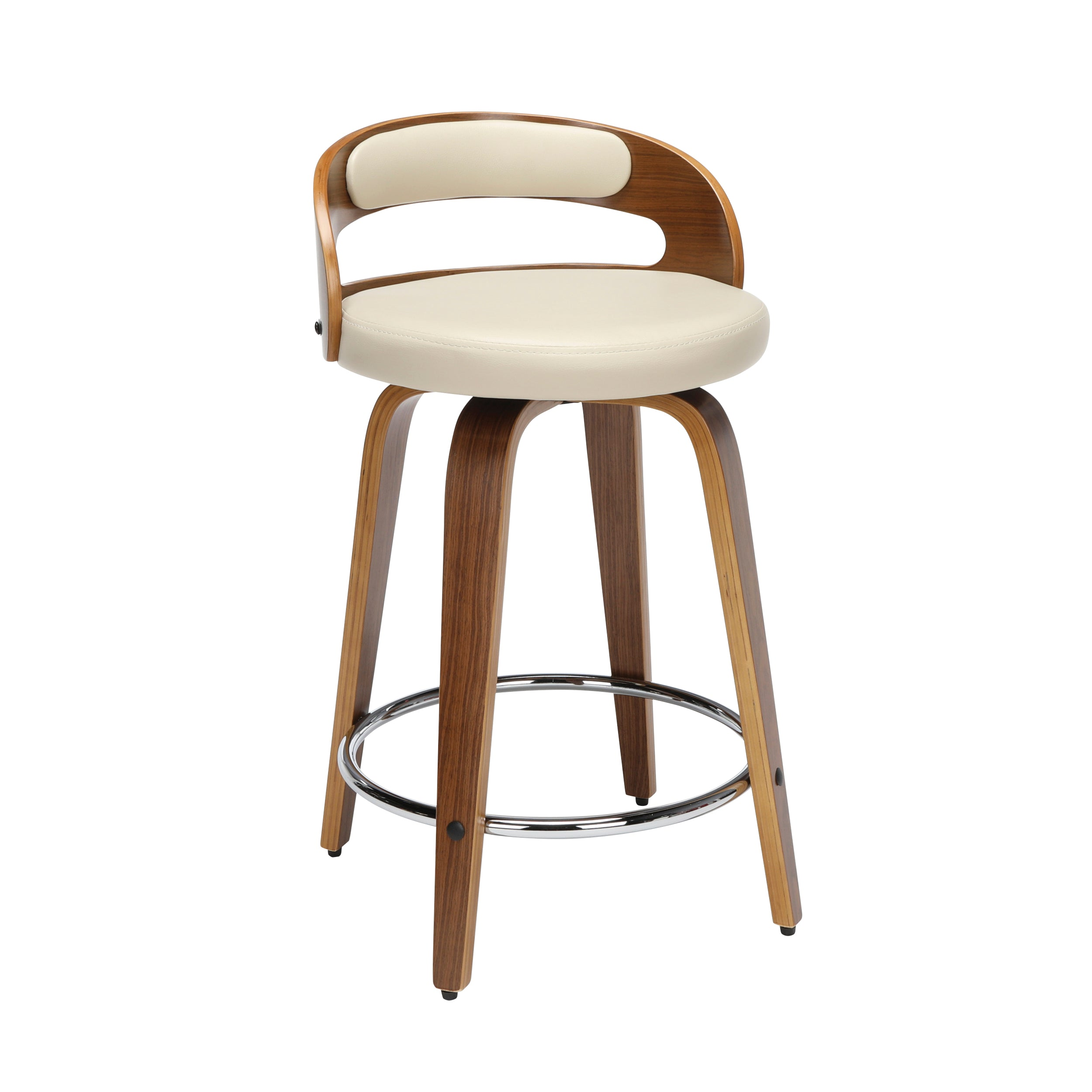 "24"" Low Back Bentwood Frame Swivel Seat Stool with Vinyl Cushion"