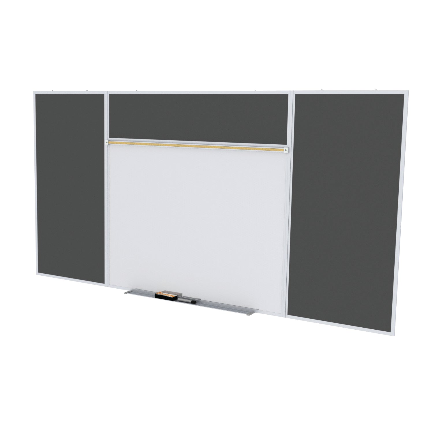 Style E Combination Unit-Porcelain Magnetic Whiteboard & BulletinBoard