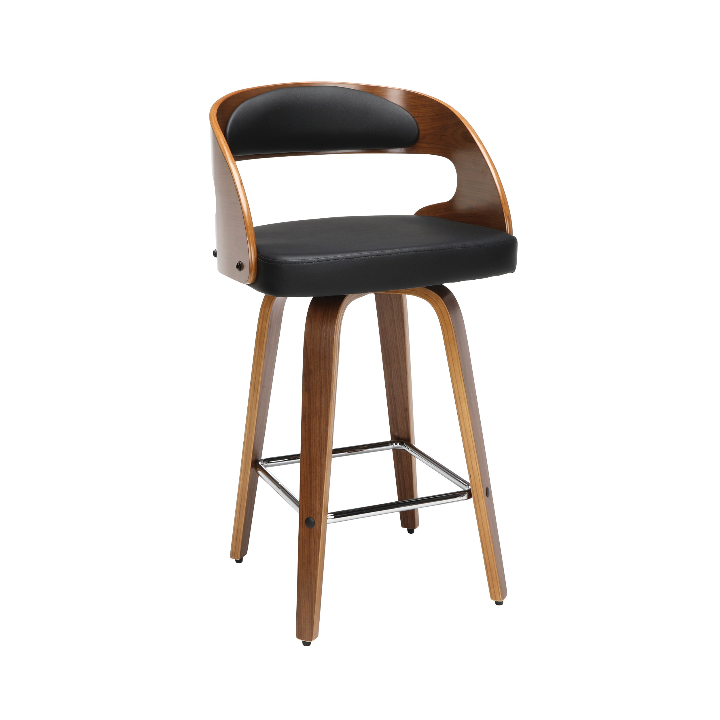 "26"" Bentwood Frame Swivel Seat Stool with Vinyl Back & Seat Cushion"