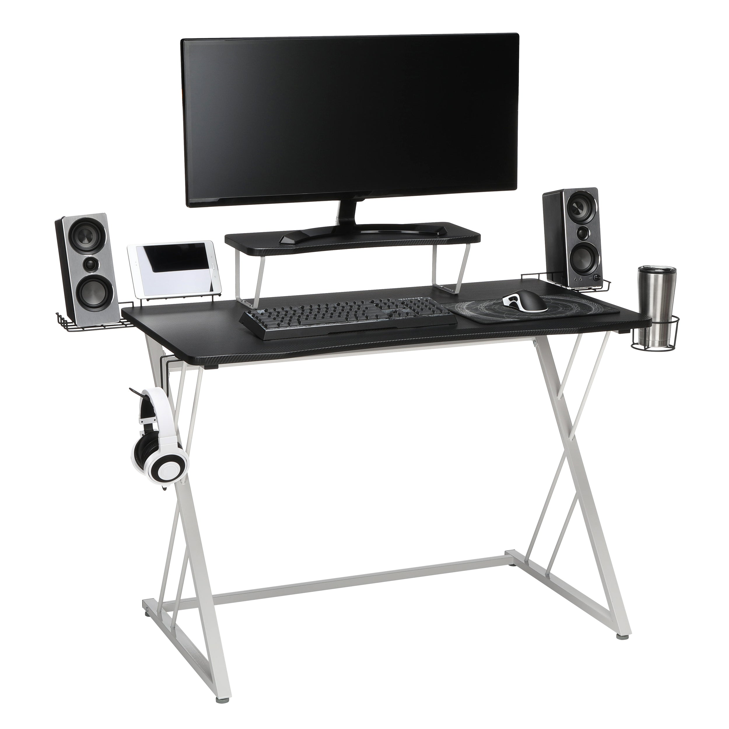"Essential Collection 55"" Gaming Computer Desk 35"" Monitor Shelf Z-Base"