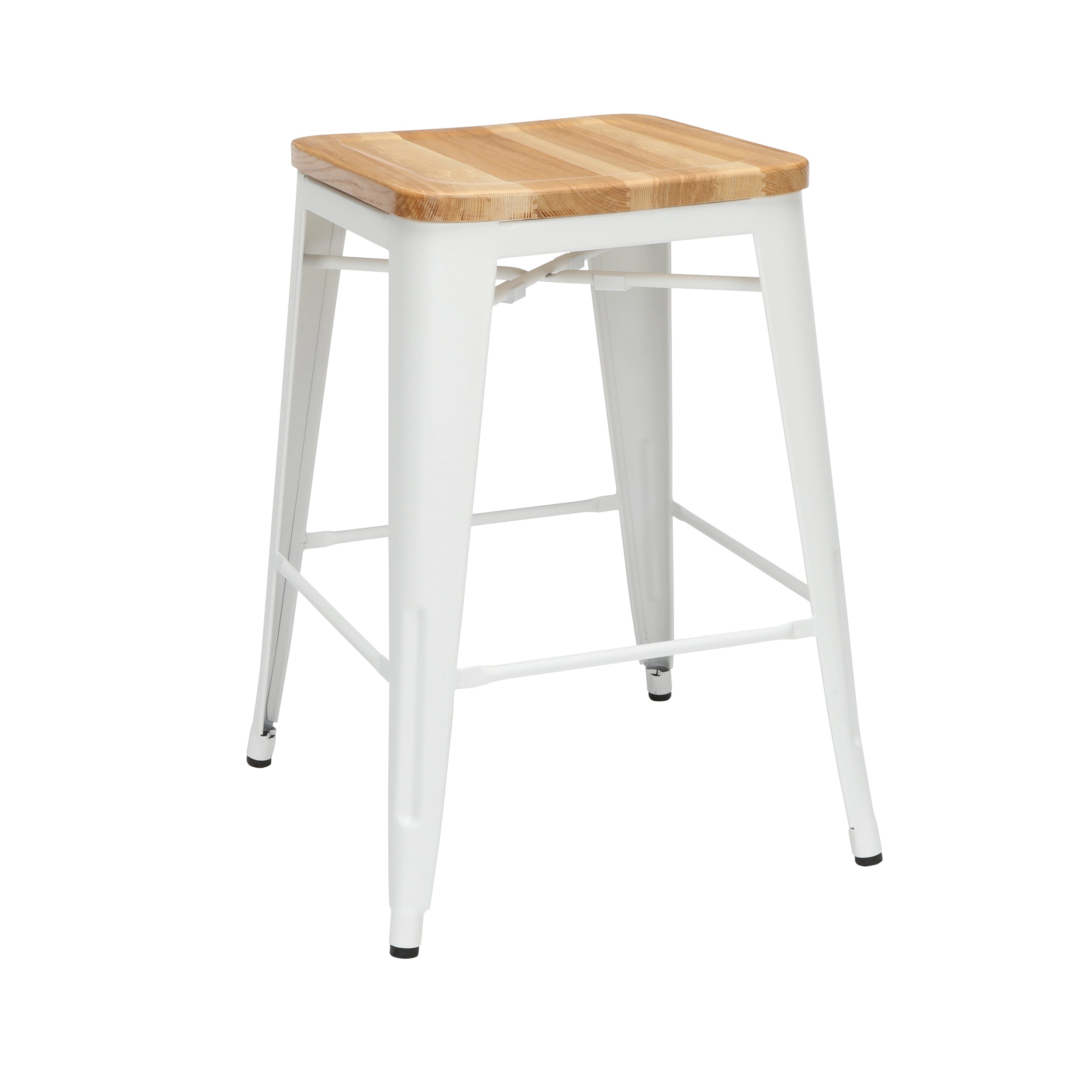 "26"" Backless Metal Stool with Solid Ash Wood Oversized Seats Bar Stool"