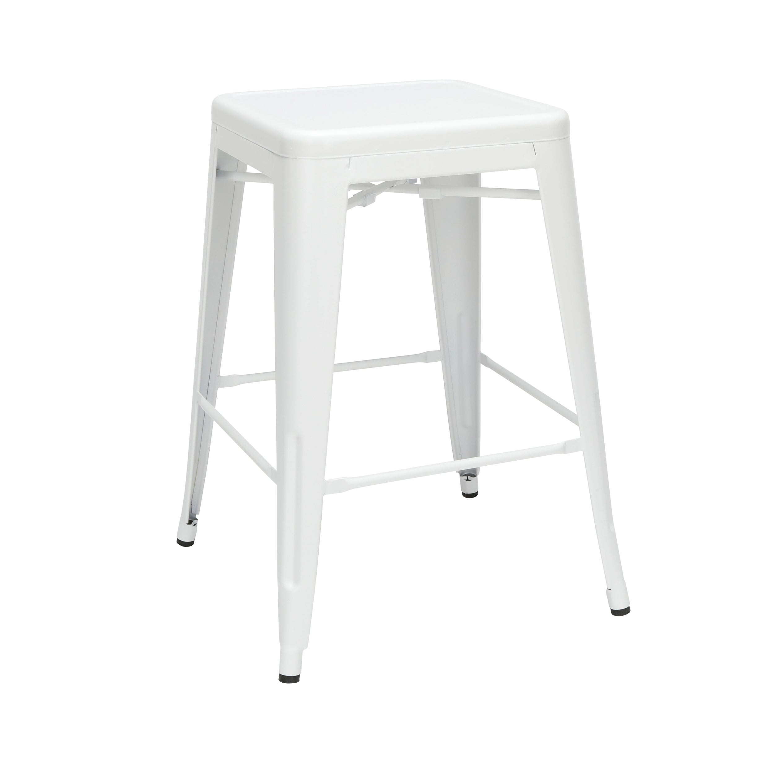 "4 Pack 26"" Backless Metal Stool Galvanized Steel Bar Stool-White"