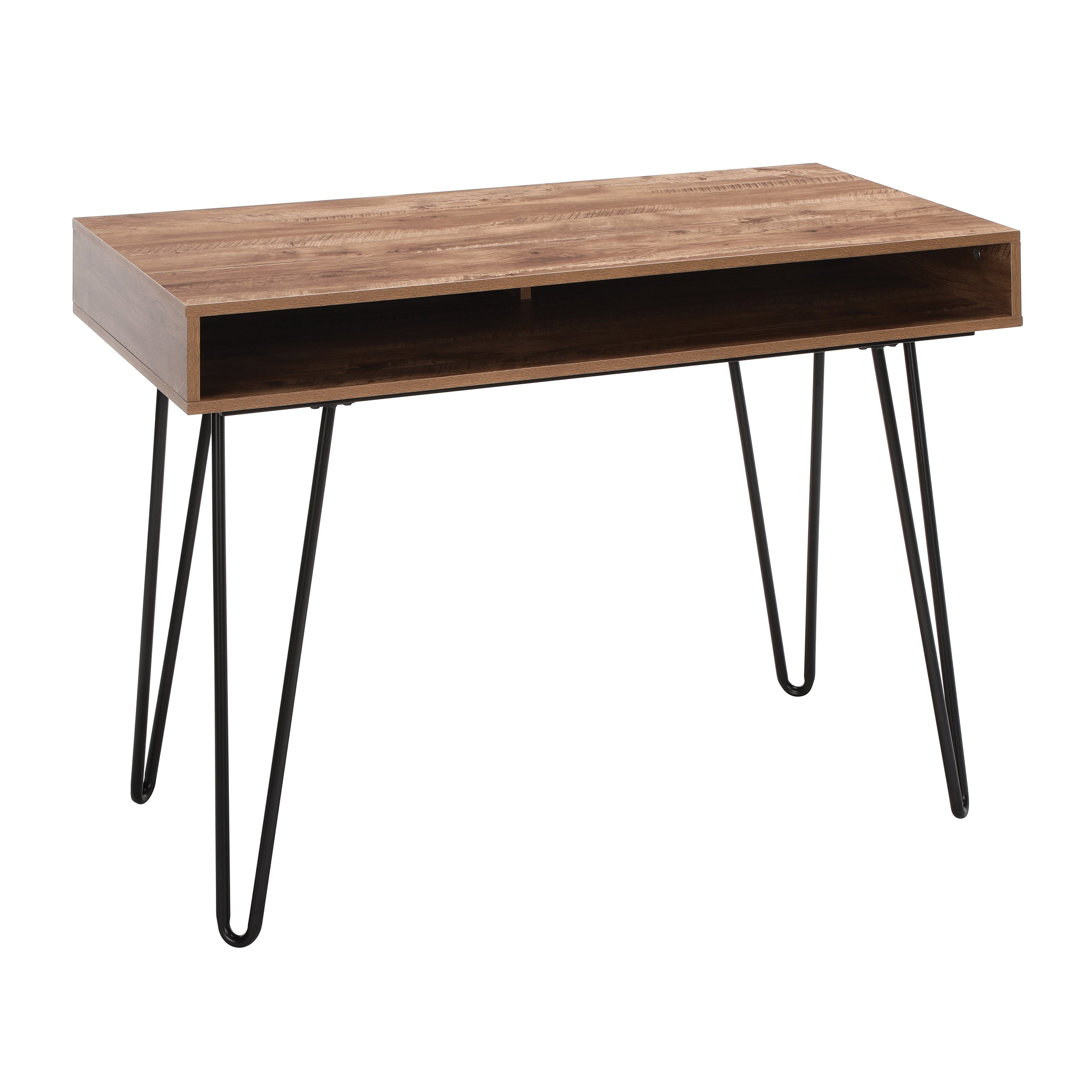 "44"" Home Retro Desk Writing Desk with Storage Hairpin Legs"