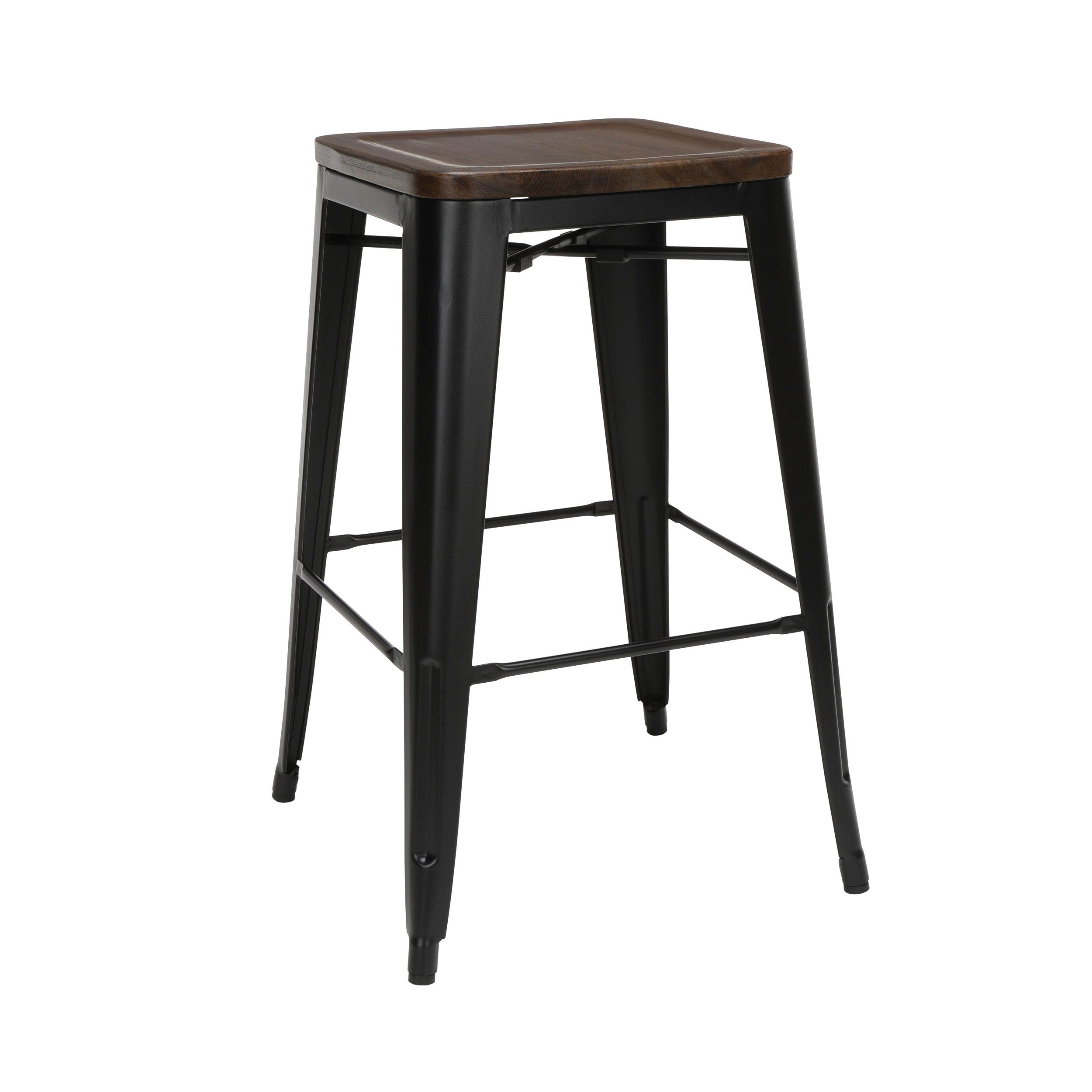 "30"" Backless Bar Height Metal Stools Wood Seats Galvanized Steel Stool"