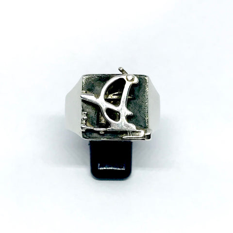 Tattoo Machine Signet Ring (D Shape)