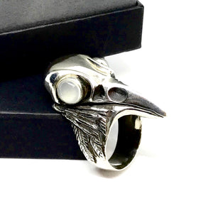 Corvus Ring - Raven Skull with Moonstone Eyes