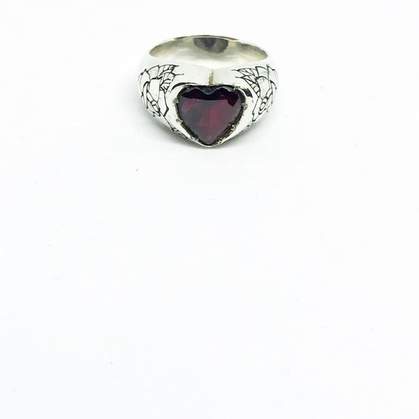 Garnet Heart Ring with Carved Roses