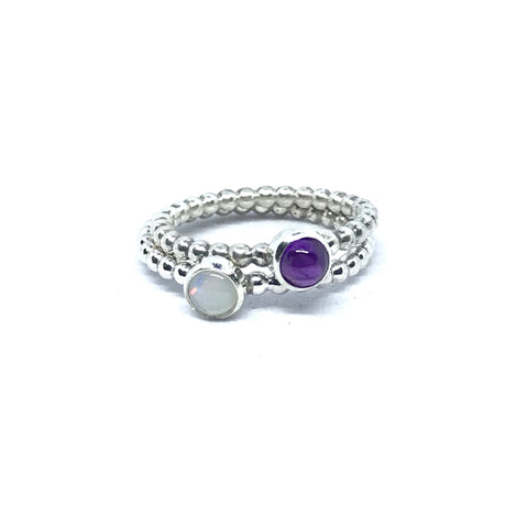 Elegant Gemstone Stacking Rings