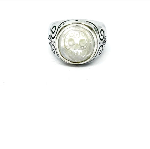 Hand Carved Mother of Pearl Skull Signet Ring