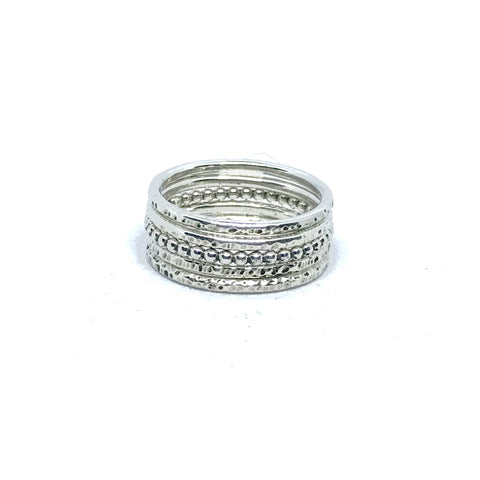 Delicate Feminine Elegant set of five Stacking Rings