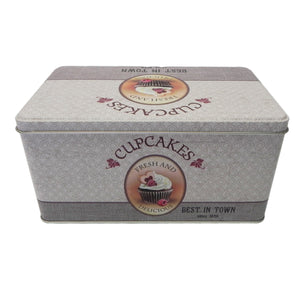 'Retro' Cupcakes Rectangular Metal Storage Tin
