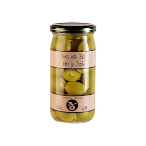'Delicious Crete' Olives stuffed with Garlic in glass jar - 215g