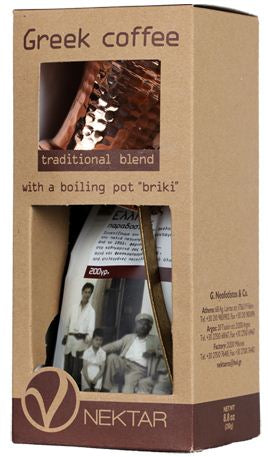 "'Nektar' Greek Coffee Traditional Blend with a Boilingpot ""Briki"" - 250g"