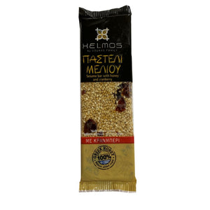 Pasteli - Honey Sesame Bar with Cranberry 'Helmos' - 75g