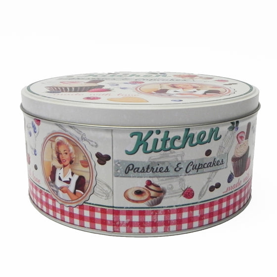'Retro' Pastries & Cupcakes Round Metal Storage Tin