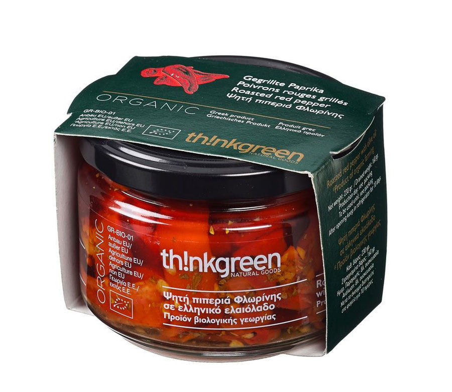 'ThinkGreen' Organic roasted red peppers -230 gr