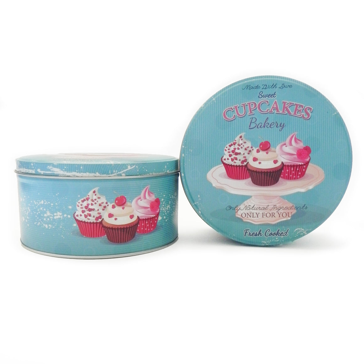 'Retro' Cupcakes Round Metal Storage Tin