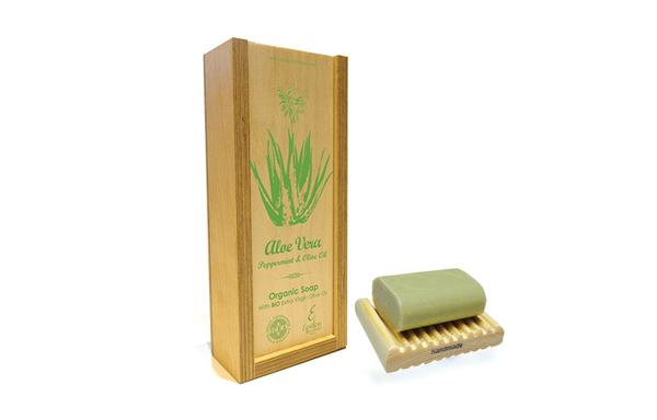 'Epsilon' Handmade Organic olive oil Soap with Aloe Vera and Peppermint - wooden case