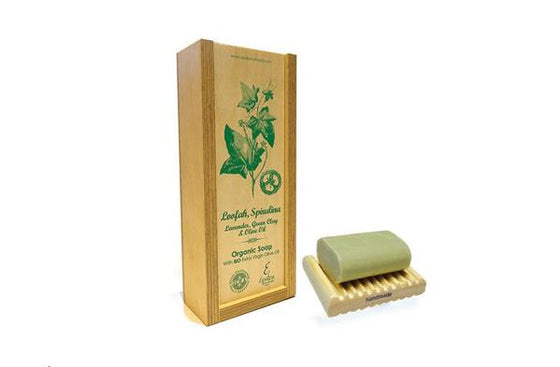 'Epsilon' Handmade Organic olive oil Soap with Lavender, Spirulina, Green clay and Loofah - wooden case