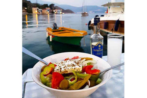 greek ouzo barbayanni blue with greek salad