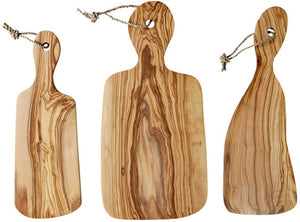 'Rizes Crete' Wood Cutting Board Irregular in Racket Shape from Original Olive Wood - 40cm