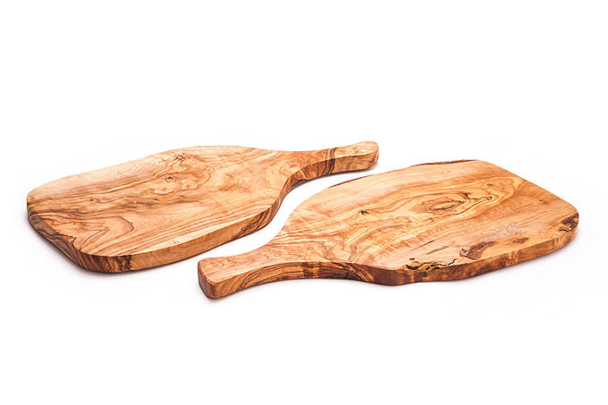 'Rizes Crete' Wood Cutting Board in Racket Shape from Original Olive Wood - 30cm